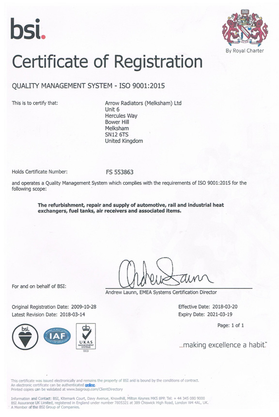 Automotive Air Conditioning >> ISO 9001:2008 Certificate - Arrow Radiators